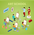 isometric art concept class with students painter vector image vector image