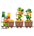 leprechauns standing on gold vector image
