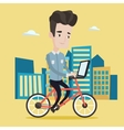 Man riding bicycle in the city vector image vector image