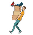 man with boxes moving vector image