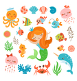 Mermaid and sea friends vector image vector image
