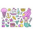 mermaid jellyfish cute sea animals fish sea vector image