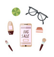 phone on white background top view vector image vector image