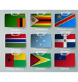 realistic set flags paper countries vector image vector image