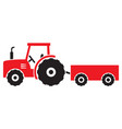 red agricultural tractor and wagon icon vector image