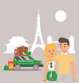 romantic couple traveling around world with vector image