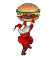 santa claus with burger christmas menu fast food vector image