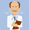 serious doctor with mustache holding a clipboard vector image vector image