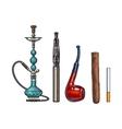 Set of smoking accessories - hookah cigarettes vector image vector image