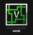 silver letter v logo symbol in the square maze vector image vector image