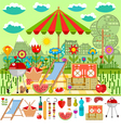 Summer picnic in the meadow with mountain views vector image