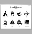 travel elements solid pack vector image