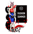 trendy girl on fashion dress and sunglasses vector image
