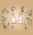 two easter rabbits among snowdrops hand drawn vector image