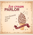vintage banner with ice cream vector image vector image