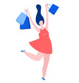 woman dancing jumping with purchase buy paper vector image
