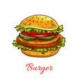 hamburger fast food cheeseburger icon vector image