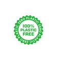 100 percent free plastic green badge eco friendly vector image vector image
