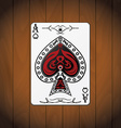 Ace of spades poker cards varnished wood vector image vector image