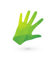 bio human hand out of green triangles vector image vector image