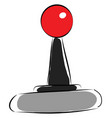 black and grey joystick with red knob on white vector image