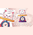 cat in scales - cute sticker vector image vector image