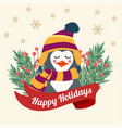 christmas card with tree braches and dressed vector image vector image