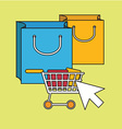 Color line icons on the theme of online shopping vector image vector image