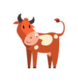 cute brown spotted cow funny farm animal cartoon vector image vector image