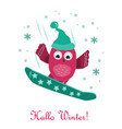 cute little owl snowboarding on the mountain vector image