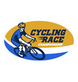cycling race event logo style vector image vector image