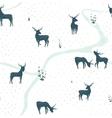 Deers Landscape Delicate Seamless Pattern vector image