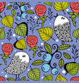endless creative background with doodle birds with vector image