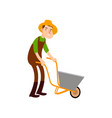 farmer on a wheelbarrow carries land flat design vector image vector image