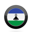 flag of lesotho shiny black round button vector image