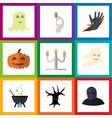 flat icon celebrate set of terrible halloween vector image vector image