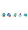 globe icon set isometric style vector image