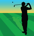 golfer black on green grass vector image vector image