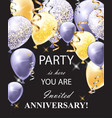 happy anniversary card with shinny balloons vector image vector image