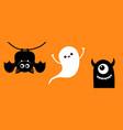 happy halloween cute bat ghost spirit monster vector image