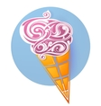 Ice cream icon shaped from decorative swirls vector image