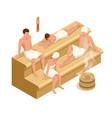 isometric interior wooden finnish sauna vector image vector image