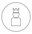king in crown icon black color in round circle vector image