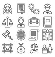 law and justice icons set on white background vector image
