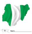 Map of Nigeria with flag vector image vector image