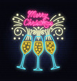 merry christmas banner with champagne glasses neon vector image