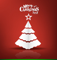 Merry Christmas postcard with origami xmas tree vector image vector image