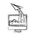 monochrome blurred silhouette of lcd monitor and vector image vector image