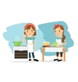 Mother cooking in kitchen vector image