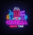 movie time neon logo cinema night neon vector image vector image